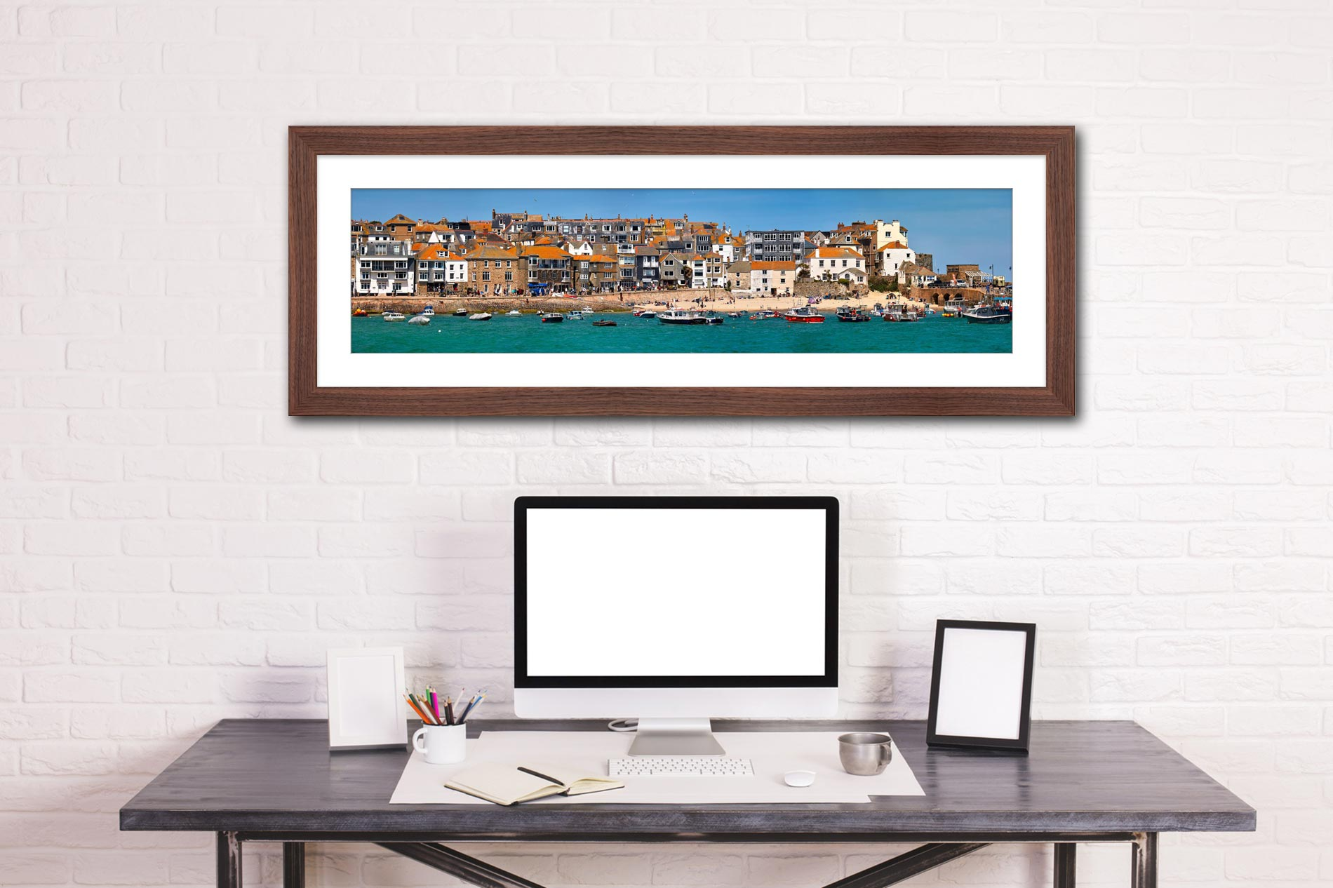 Wharf Road and Downalong - Framed Print with Mount on Wall