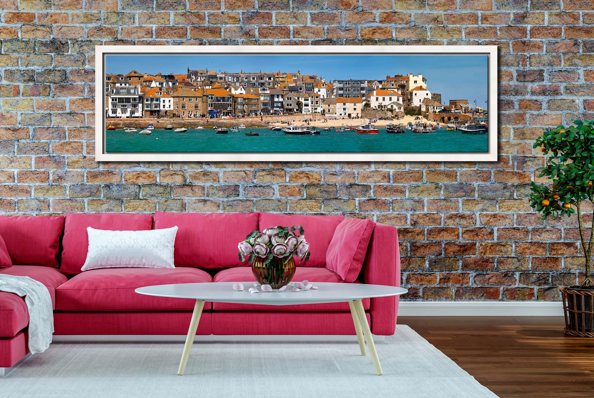 Wharf Road and Downalong - White Maple floater frame with acrylic glazing on Wall