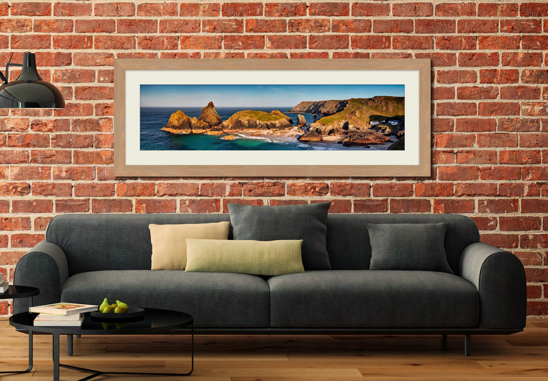 Kynance Cove Morning Sunlight - Framed Print with Mount on Wall