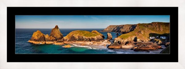 Kynance Cove Morning Sunlight - Framed Print with Mount
