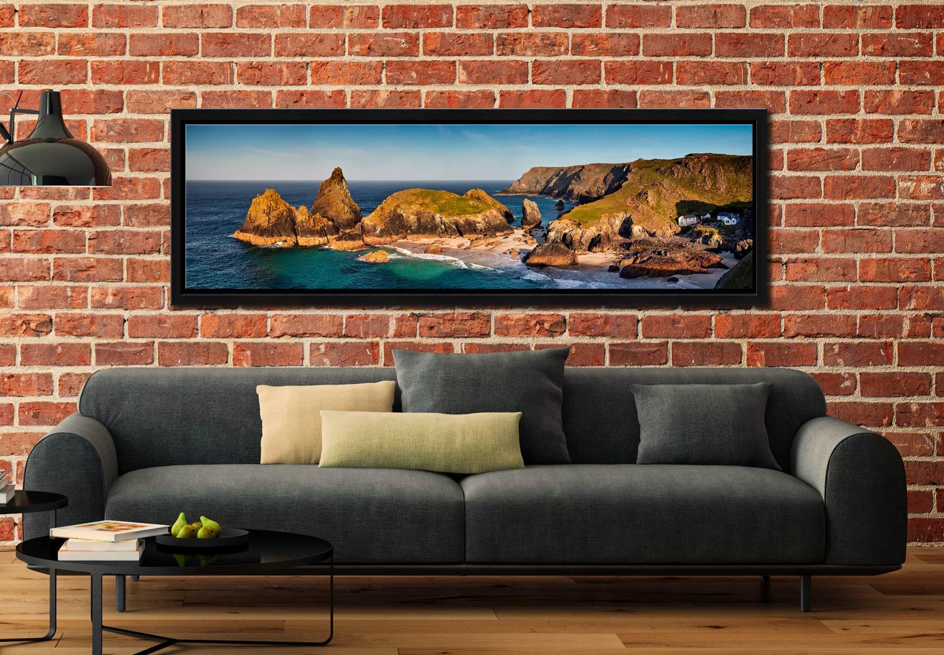 Kynance Cove Morning Sunlight - Black oak floater frame with acrylic glazing on Wall