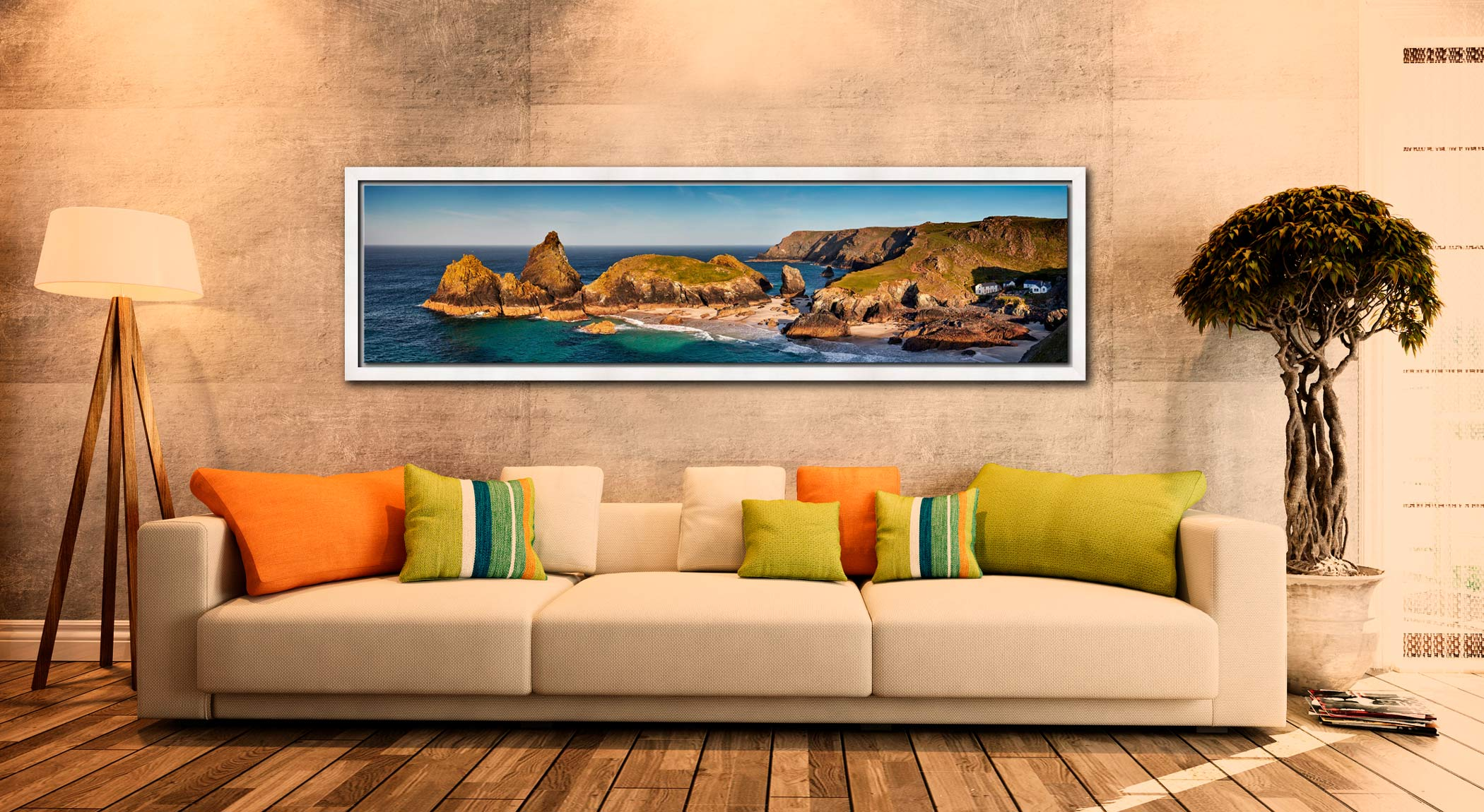 Kynance Cove Morning Sunlight - White Maple floater frame with acrylic glazing on Wall