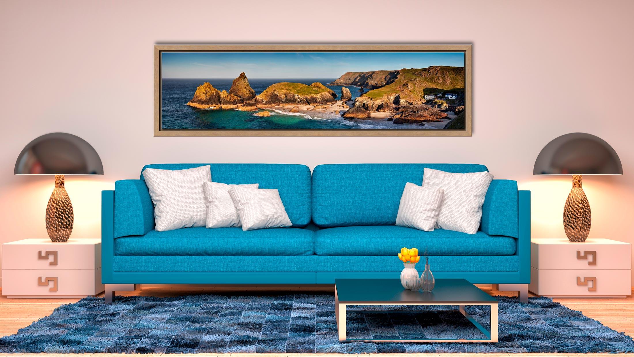 Kynance Cove Morning Sunlight - Oak floater frame with acrylic glazing on Wall