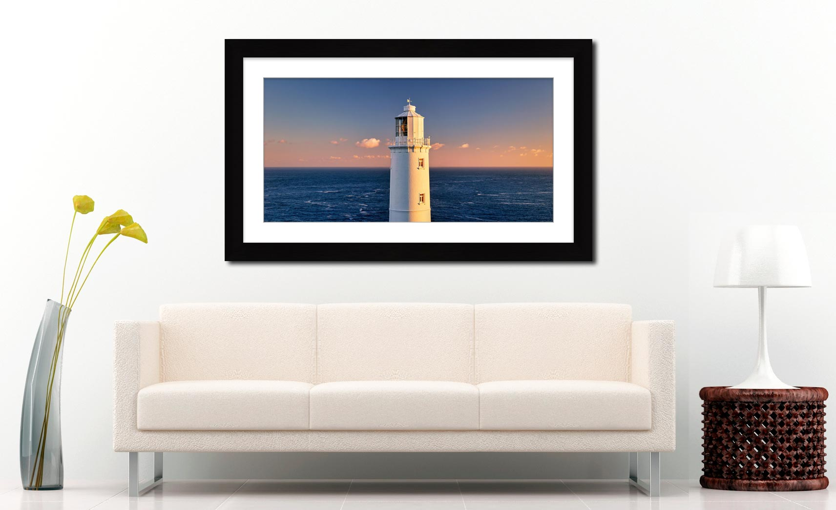 Trevose Head Lighthouse - Framed Print with Mount on Wall