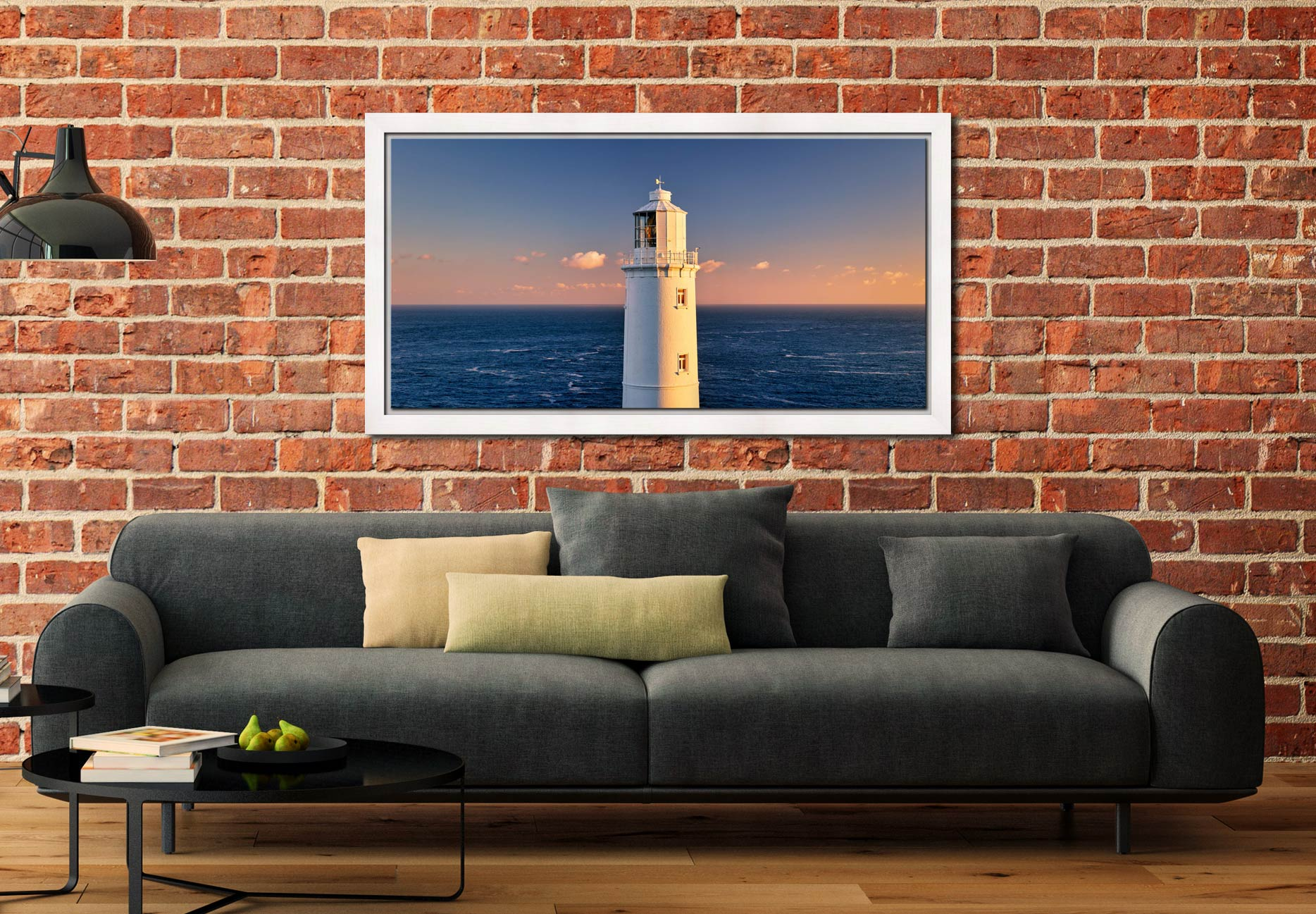 Trevose Head Lighthouse - White Maple floater frame with acrylic glazing on Wall