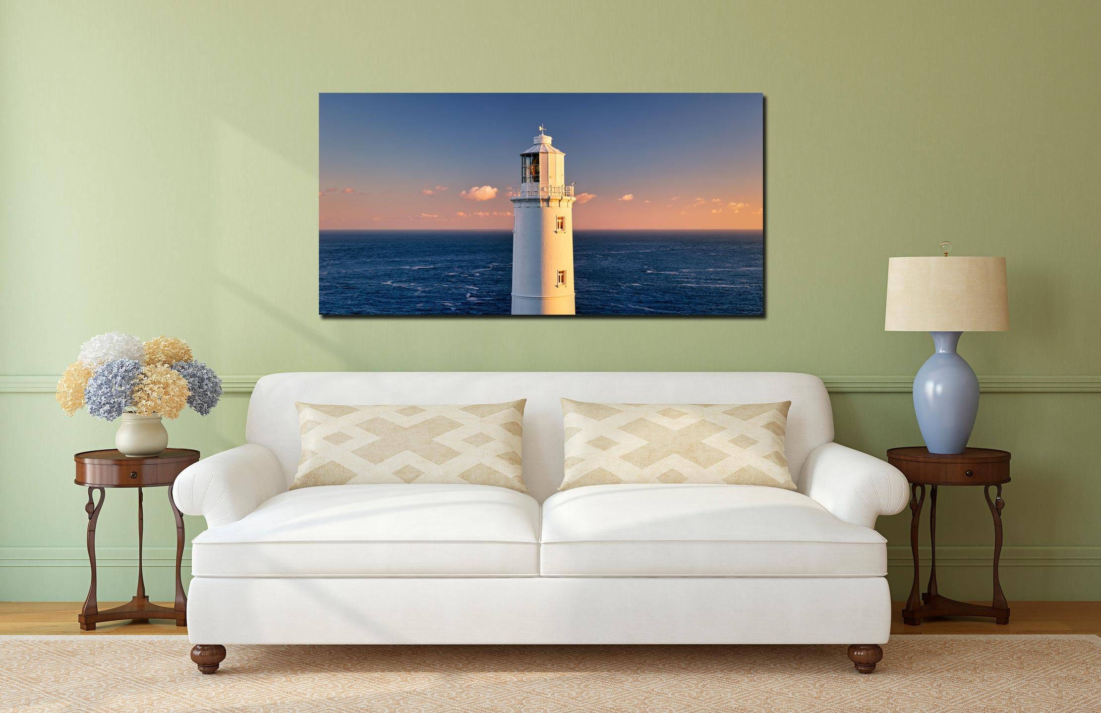 Trevose Head Lighthouse - Print Aluminium Backing With Acrylic Glazing on Wall