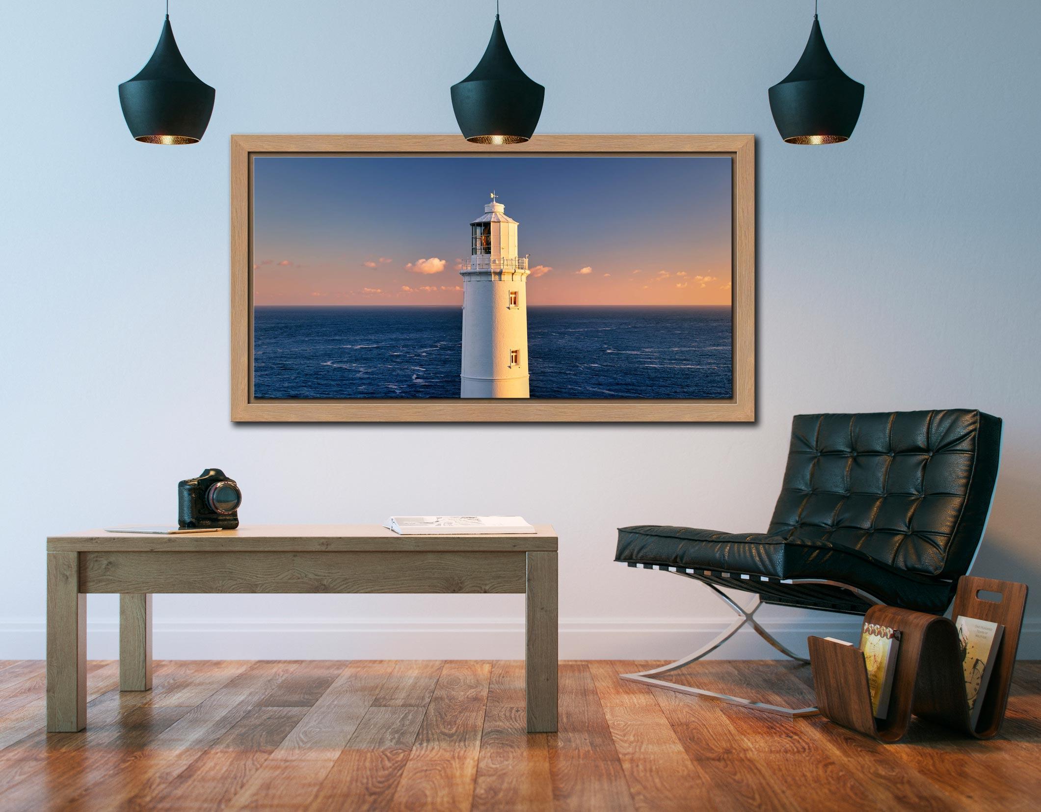 Trevose Head Lighthouse - Oak floater frame with acrylic glazing on Wall