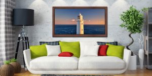 Trevose Head Lighthouse - Walnut floater frame with acrylic glazing on Wall