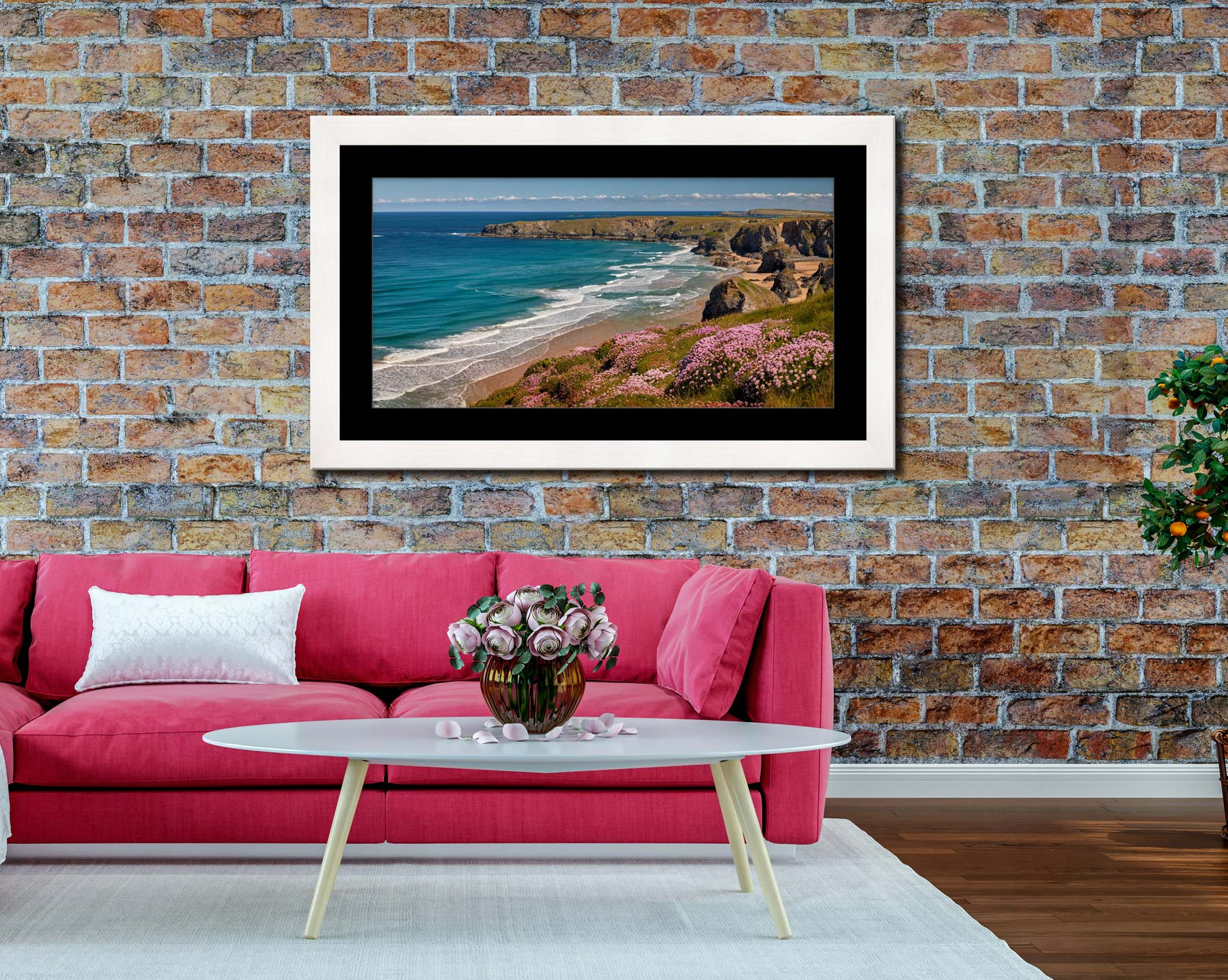 Spring Wildflowers Bedruthan Steps - Framed Print with Mount on Wall
