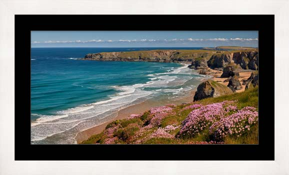 Spring Wildflowers Bedruthan Steps - Framed Print with Mount