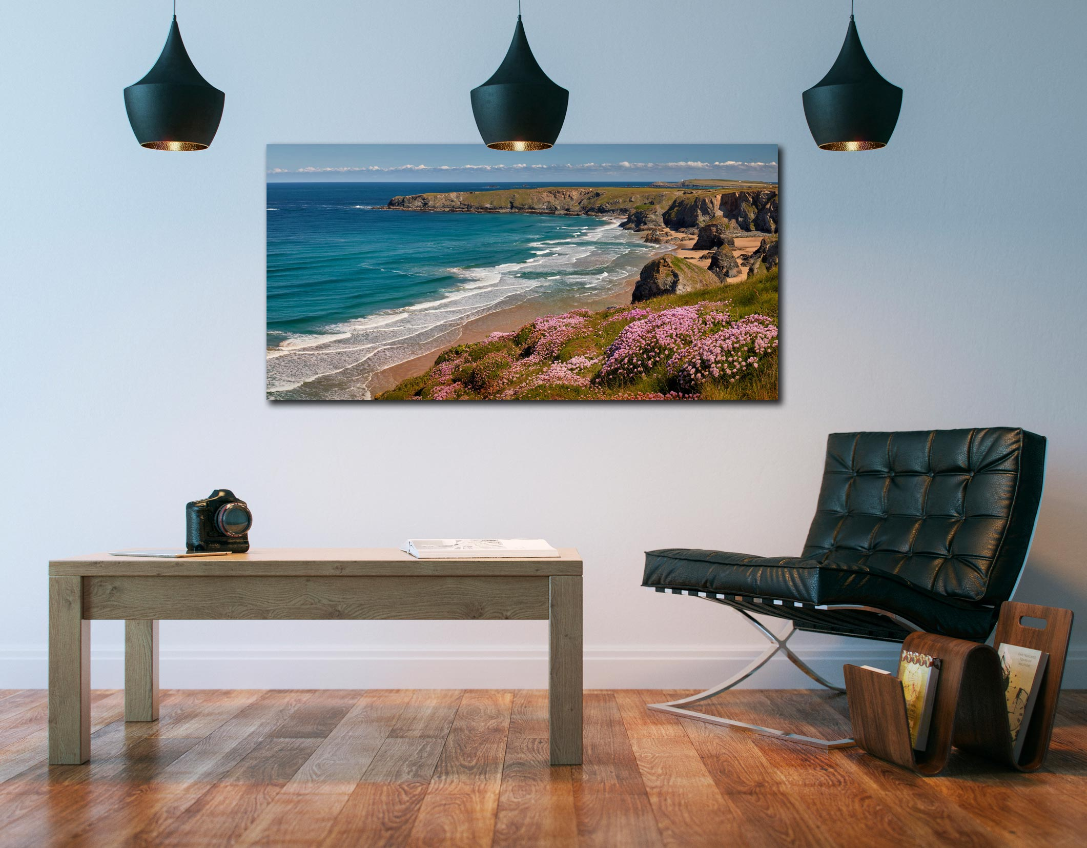 Spring Wildflowers Bedruthan Steps - Print Aluminium Backing With Acrylic Glazing on Wall