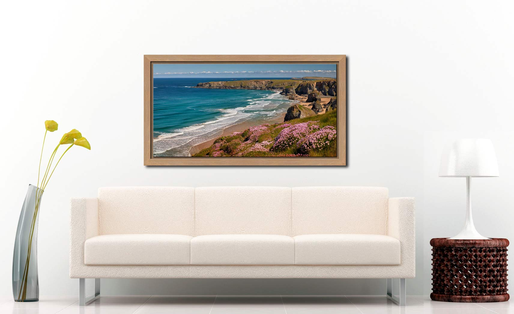 Spring Wildflowers Bedruthan Steps - Oak floater frame with acrylic glazing on Wall