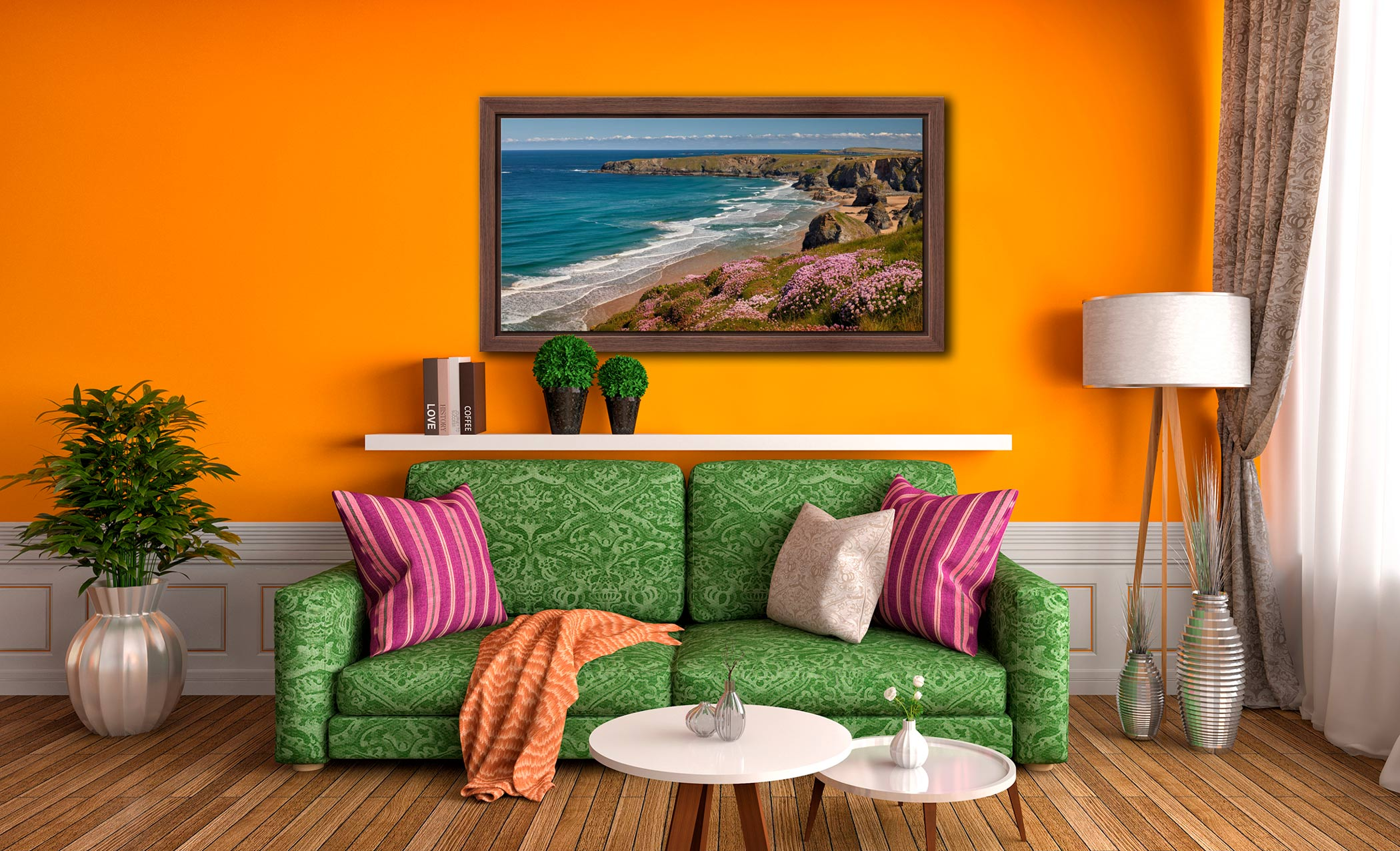 Spring Wildflowers Bedruthan Steps - Walnut floater frame with acrylic glazing on Wall