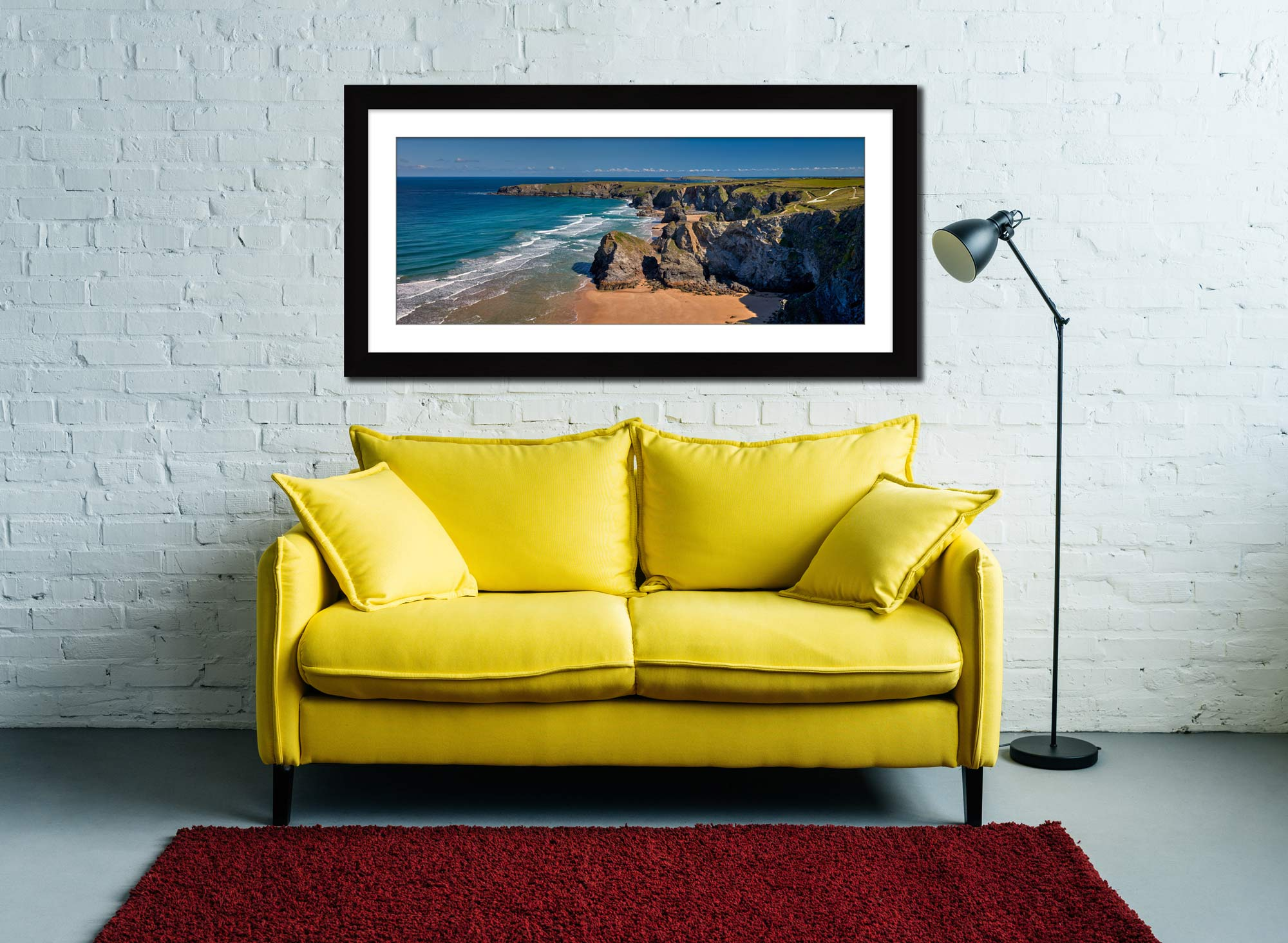 Cliffs and Stacks at Bedruthan - Framed Print with Mount on Wall