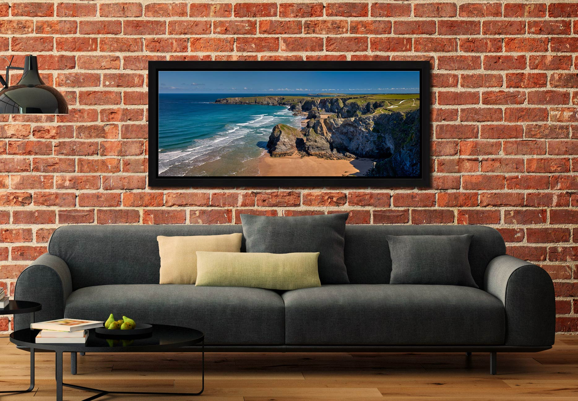 Cliffs and rock stacks at Bedruthan Steps in Cornwall - Black oak floater frame with acrylic glazing on Wall