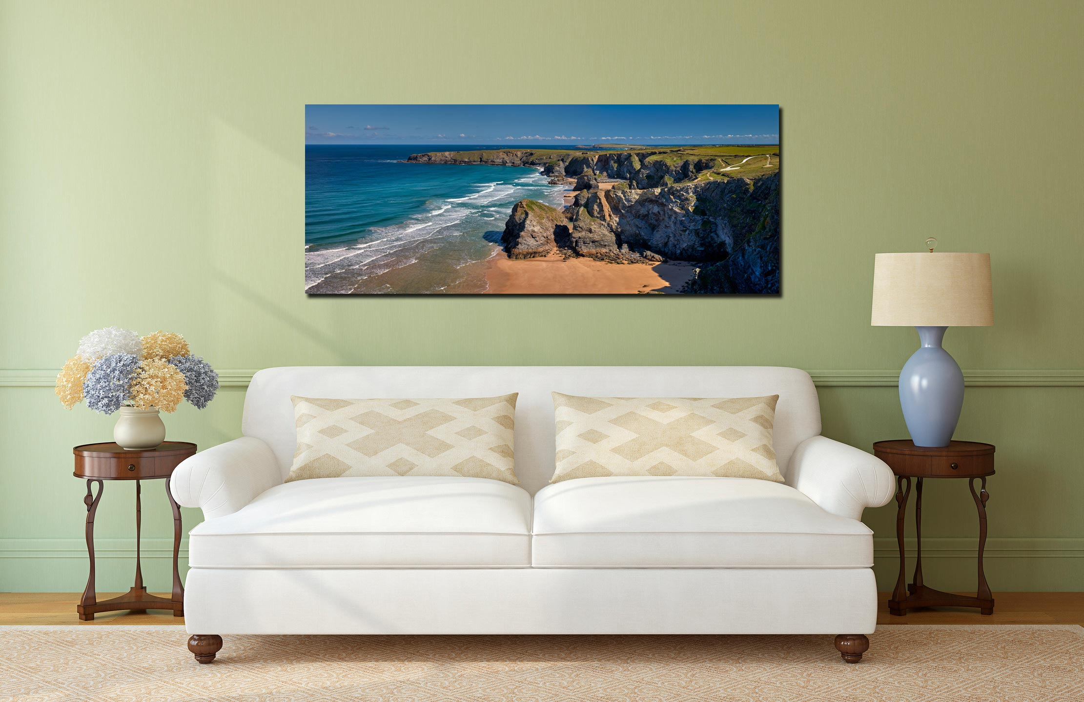 Cliffs and rock stacks at Bedruthan Steps in Cornwall - Print Aluminium Backing With Acrylic Glazing on Wall