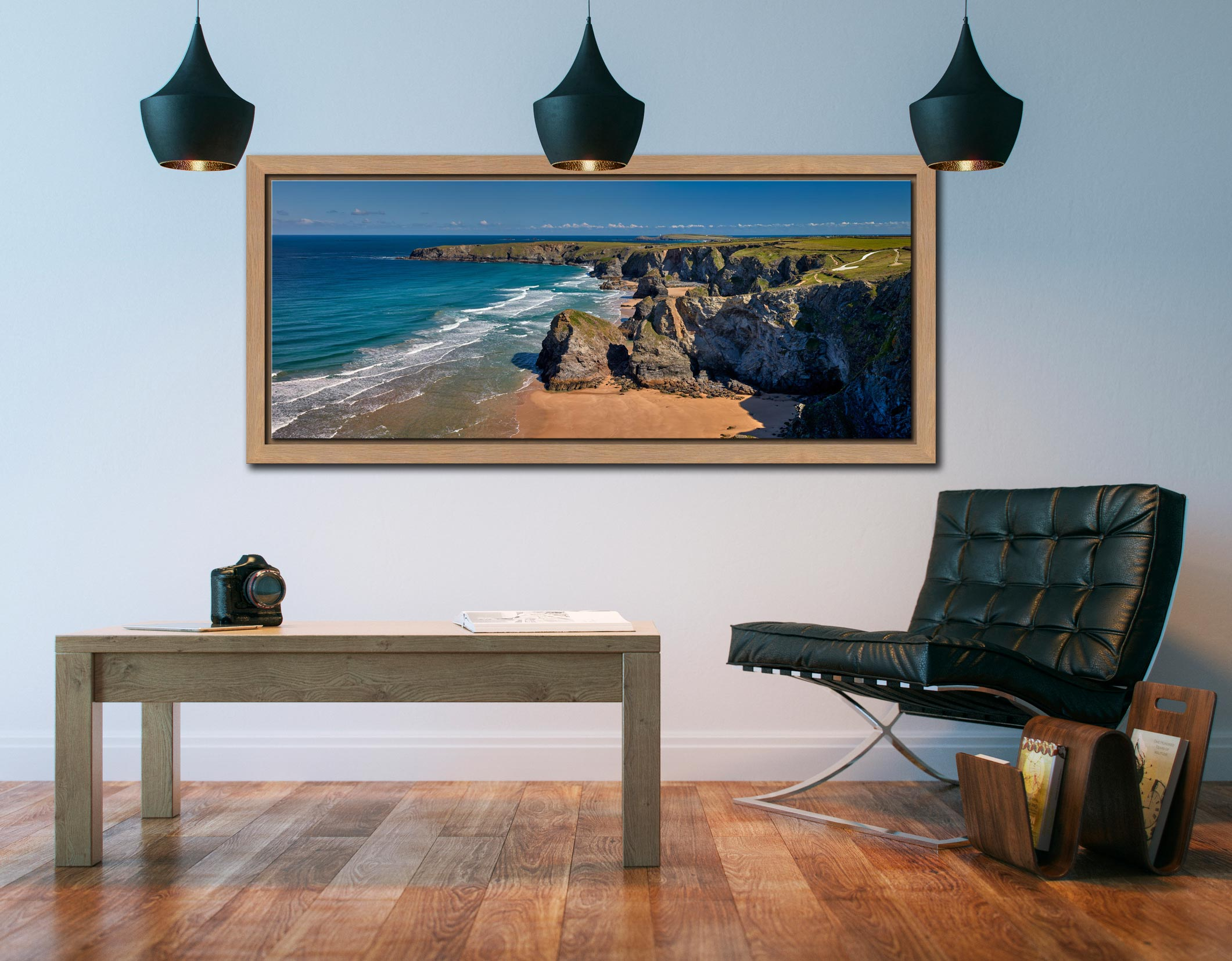 Cliffs and rock stacks at Bedruthan Steps in Cornwall - Oak floater frame with acrylic glazing on Wall