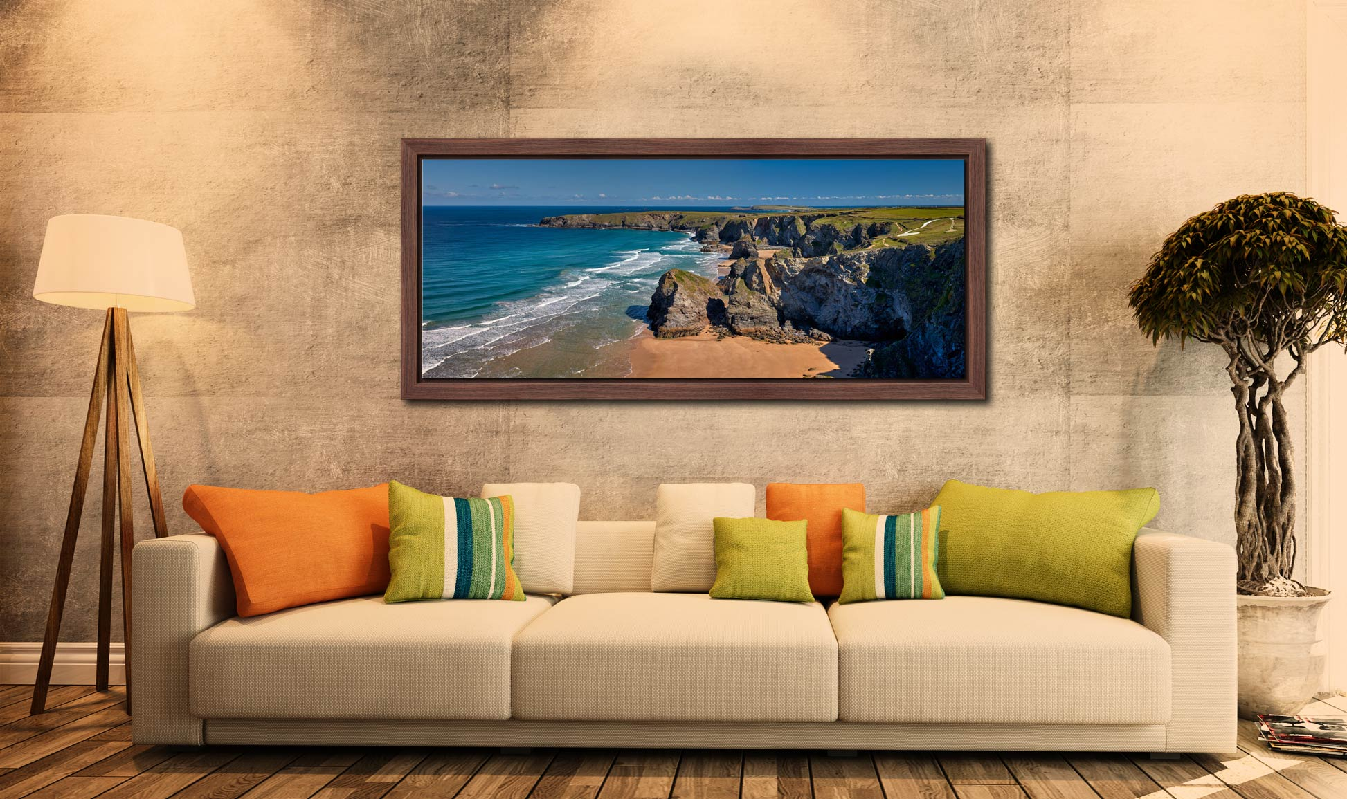 Cliffs and rock stacks at Bedruthan Steps in Cornwall - Walnut floater frame with acrylic glazing on Wall