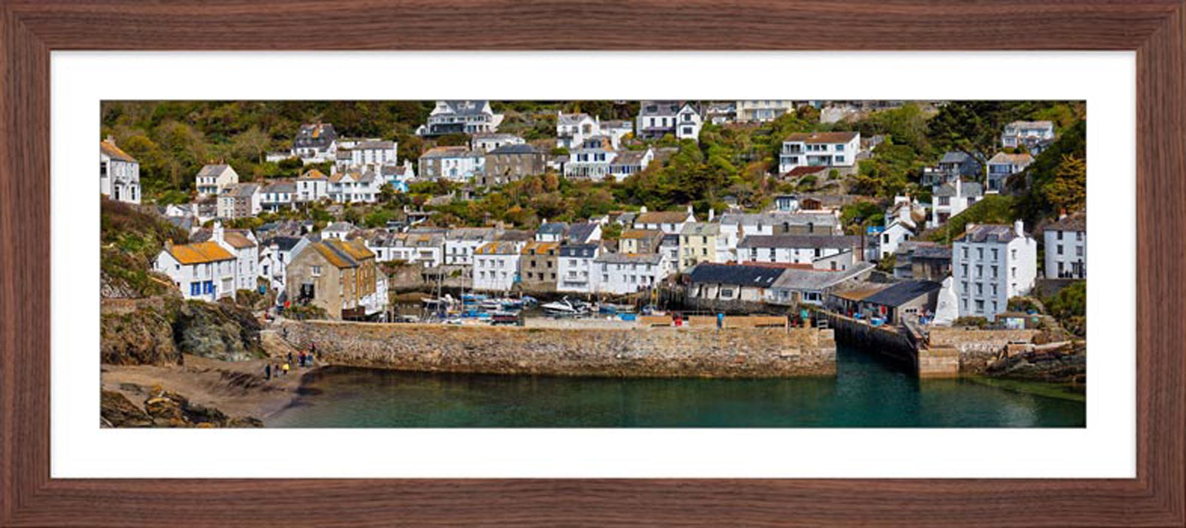 Polperro Harbour Wall - Framed Print with Mount
