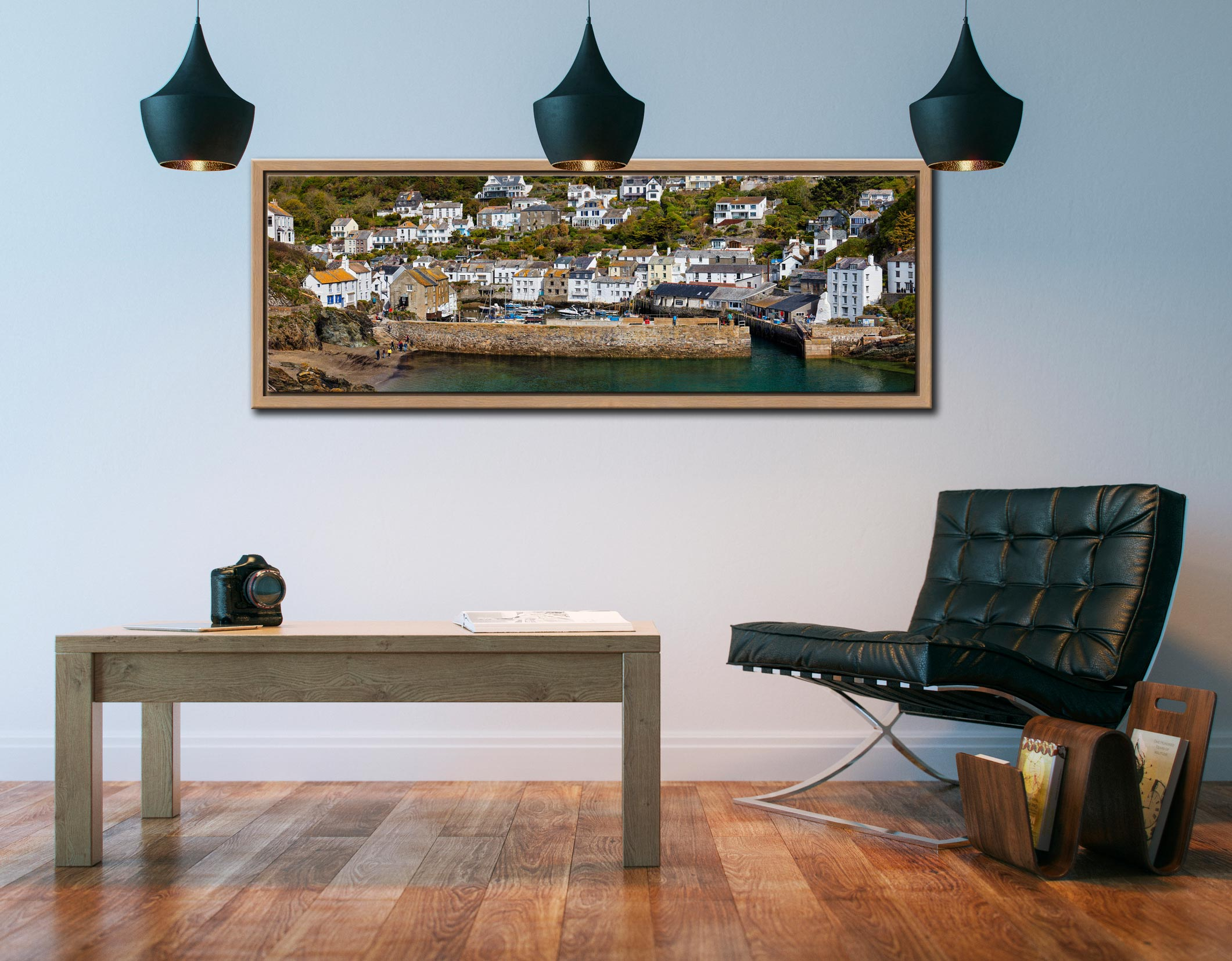 The harbour cottages and sea wall at Polperro in Cornwall - Oak floater frame with acrylic glazing on Wall