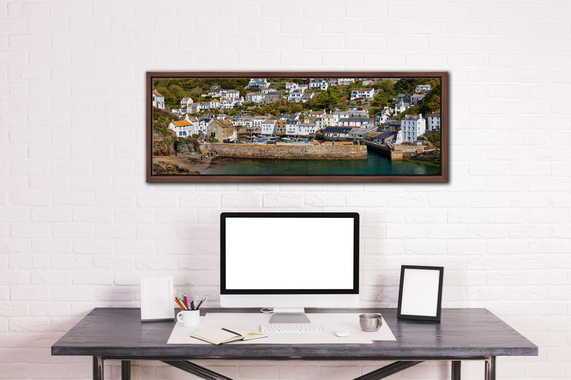 The harbour cottages and sea wall at Polperro in Cornwall - Walnut floater frame with acrylic glazing on Wall