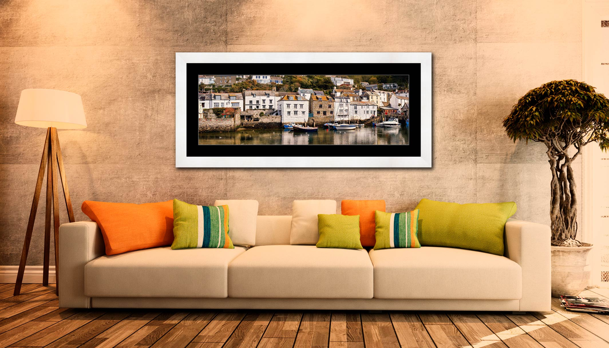 Harbour Cottages Polperro - Framed Print with Mount on Wall