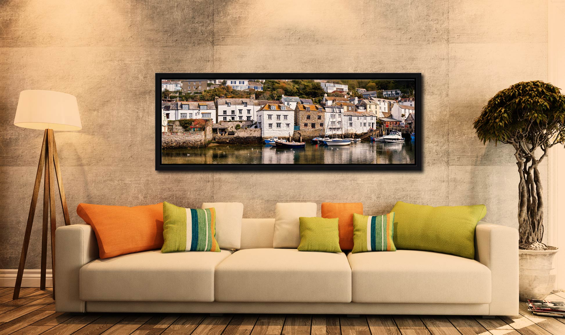 The harbour side stone cottages in Polperro in Cornwall - Black oak floater frame with acrylic glazing on Wall