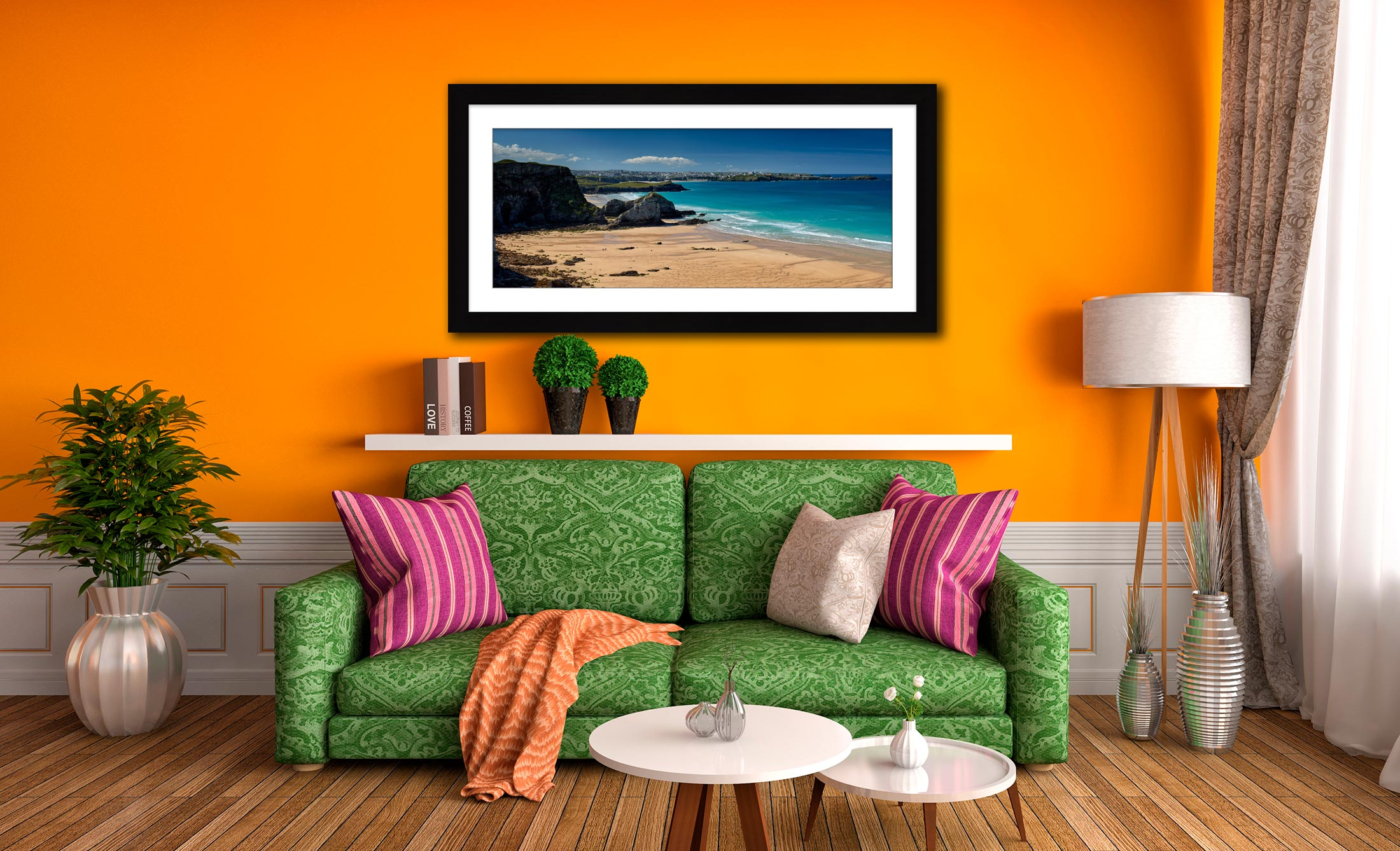 Porth Beach and Newquay - Framed Print with Mount on Wall