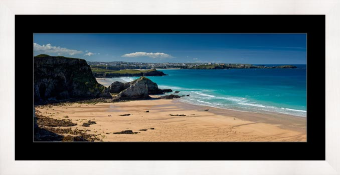Porth Beach and Newquay - Framed Print with Mount