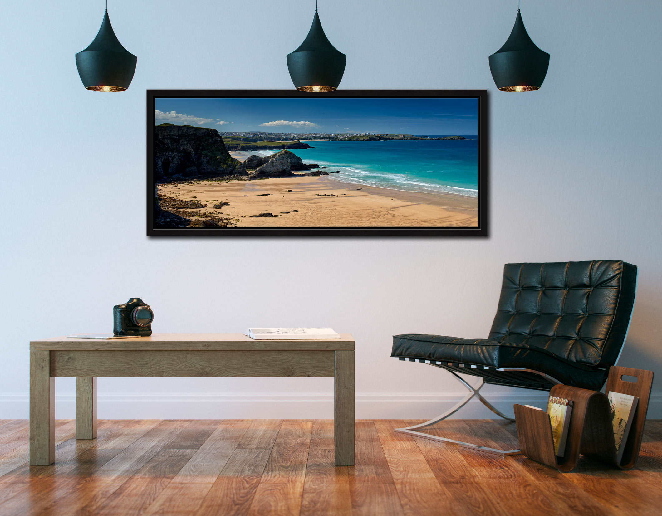 View over the golden sands of Porth beach to Newquay - Black oak floater frame with acrylic glazing on Wall