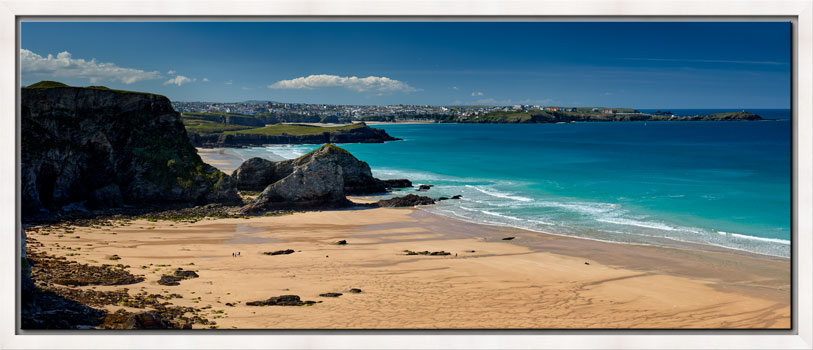 View over the golden sands of Porth beach to Newquay