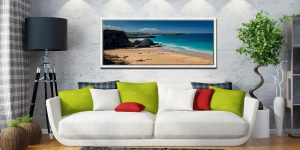 View over the golden sands of Porth beach to Newquay - White Maple floater frame with acrylic glazing on Wall