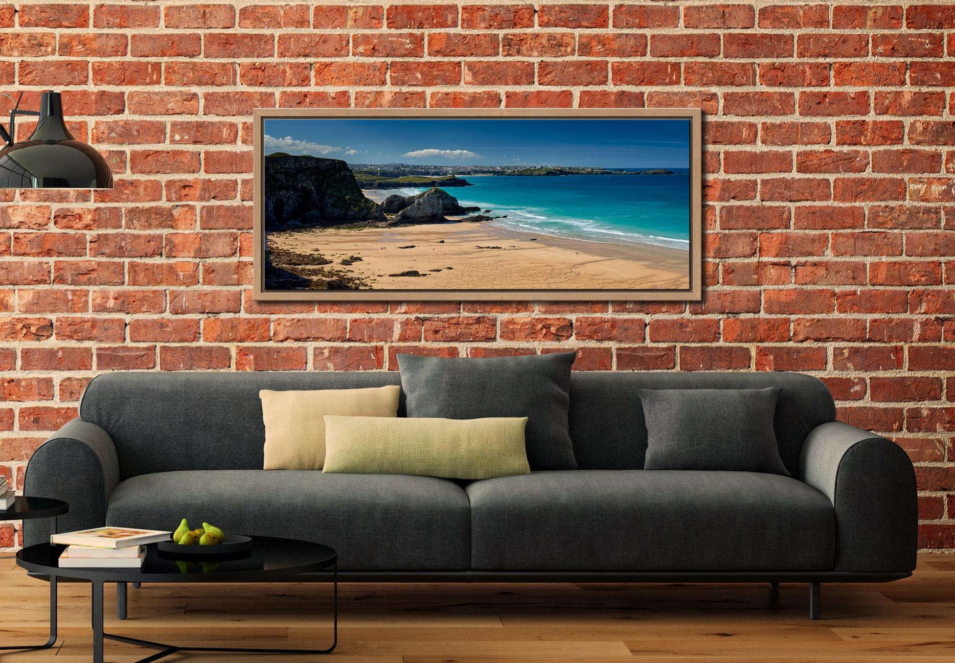 View over the golden sands of Porth beach to Newquay - Oak floater frame with acrylic glazing on Wall