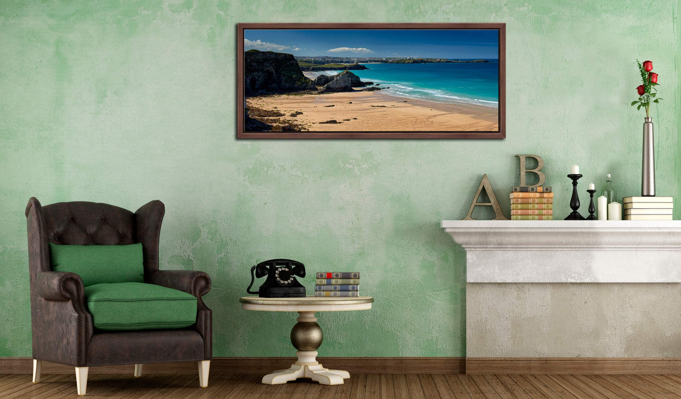 View over the golden sands of Porth beach to Newquay - Walnut floater frame with acrylic glazing on Wall