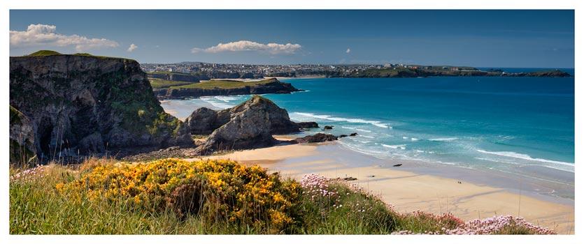 Porth Beach and Rock Stacks - Cornwall Print