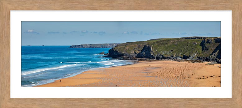 Watergate Bay Panorama - Framed Print with Mount