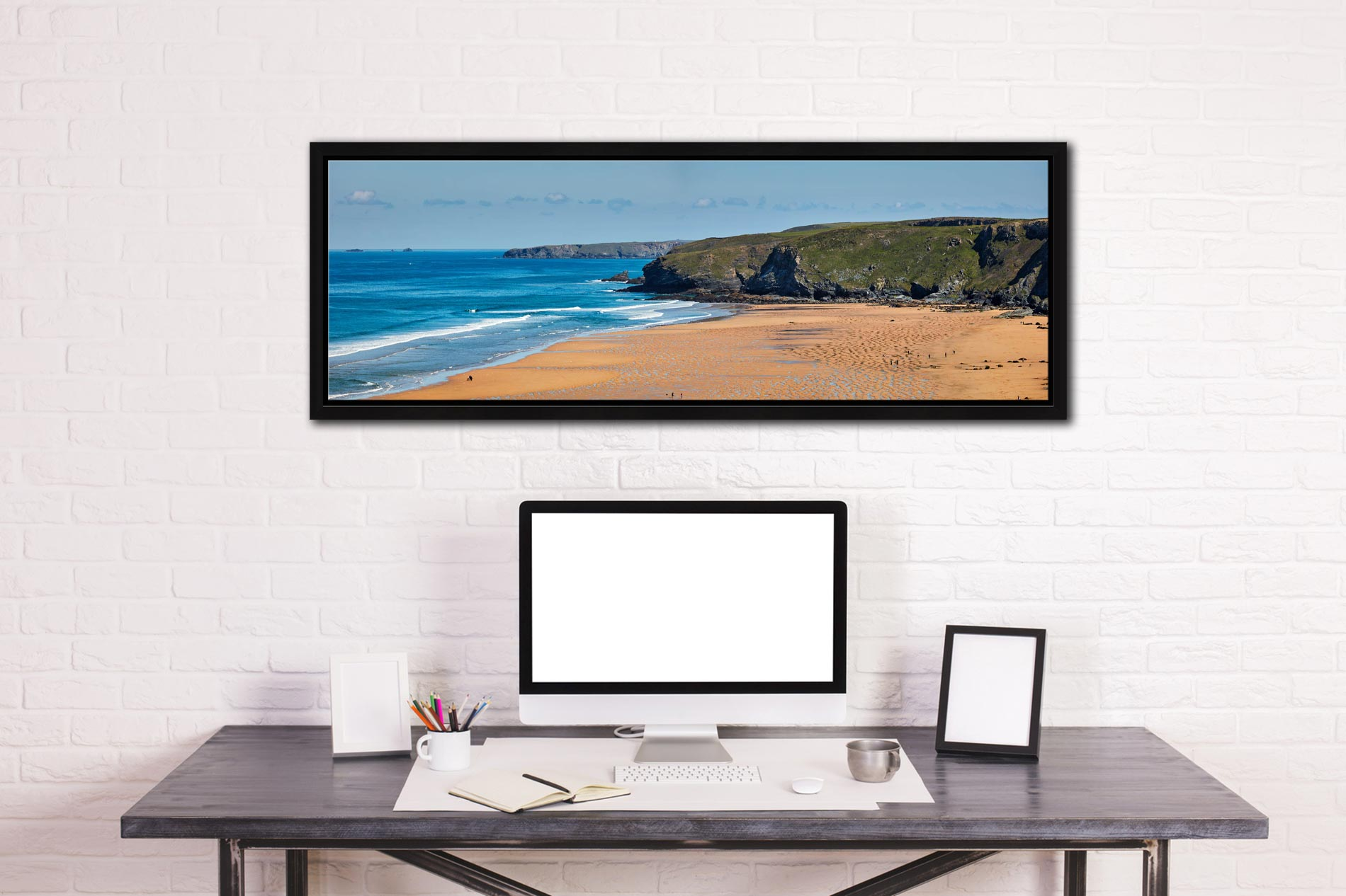 The golden sands of Watergate Bay on the North coast of Cornwall - Black oak floater frame with acrylic glazing on Wall