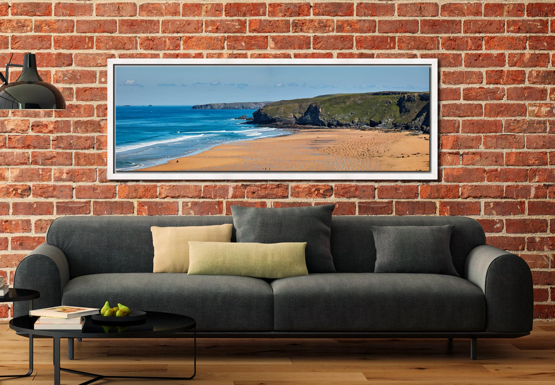 The golden sands of Watergate Bay on the North coast of Cornwall - White Maple floater frame with acrylic glazing on Wall