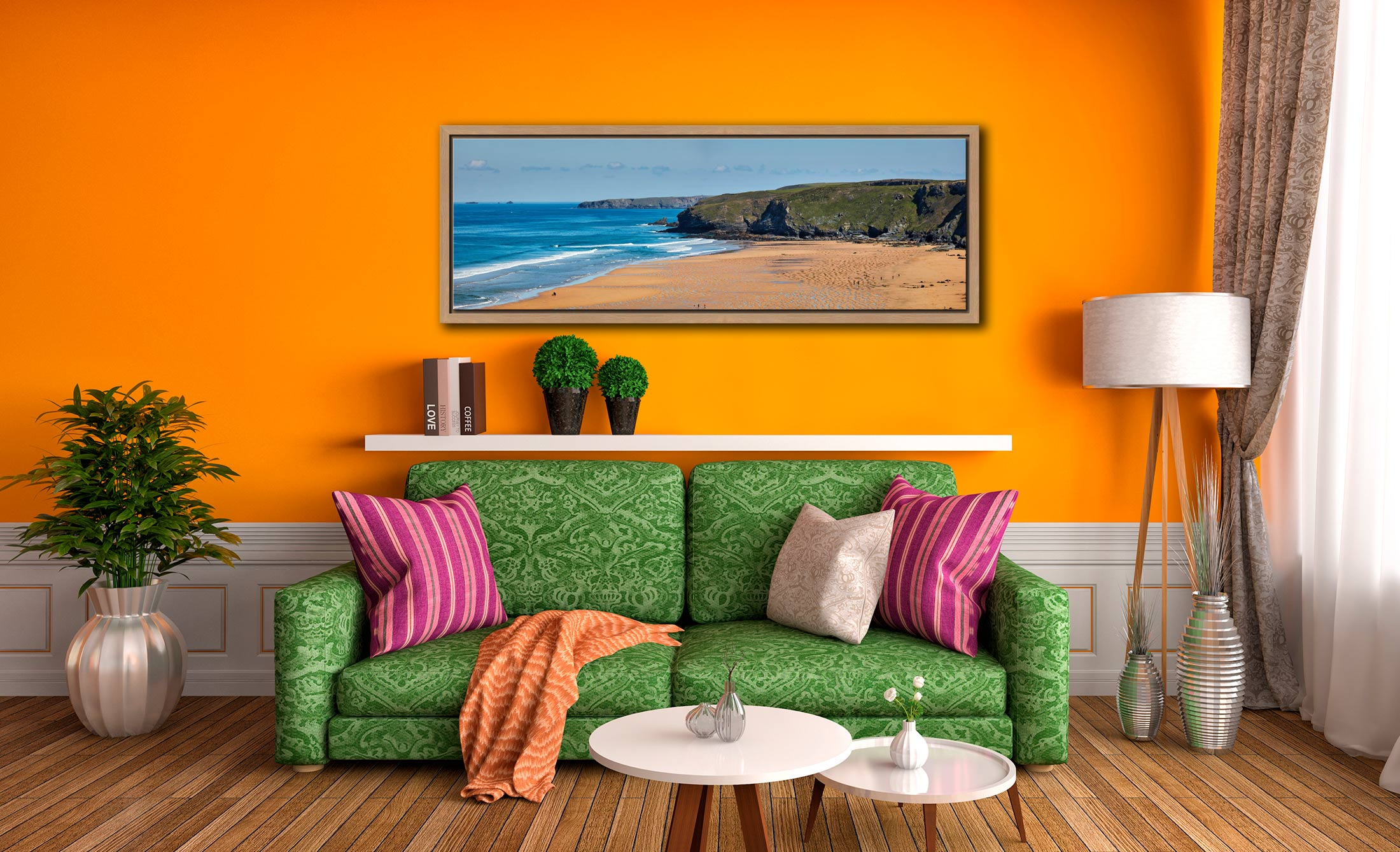 The golden sands of Watergate Bay on the North coast of Cornwall - Oak floater frame with acrylic glazing on Wall