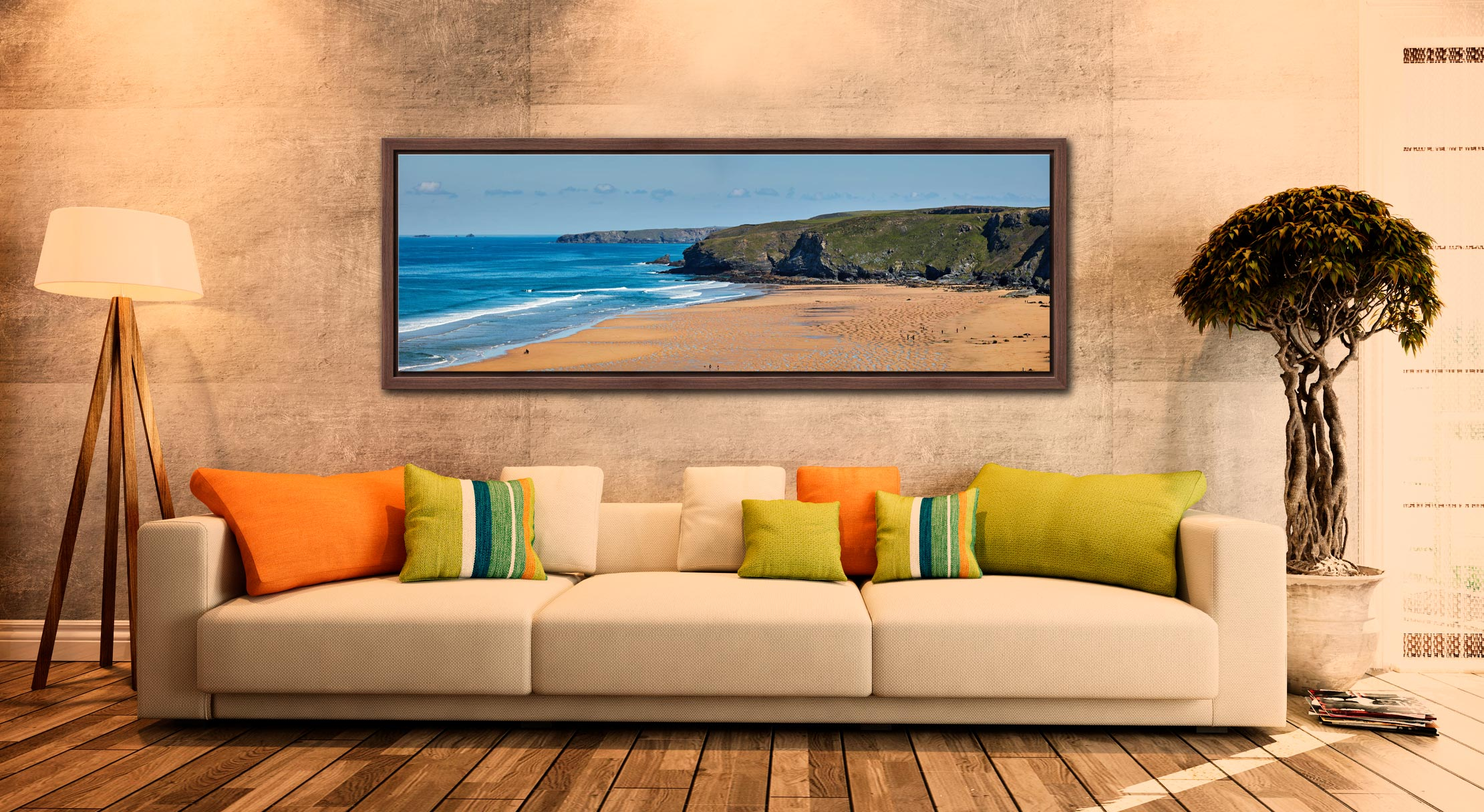 The golden sands of Watergate Bay on the North coast of Cornwall - Walnut floater frame with acrylic glazing on Wall