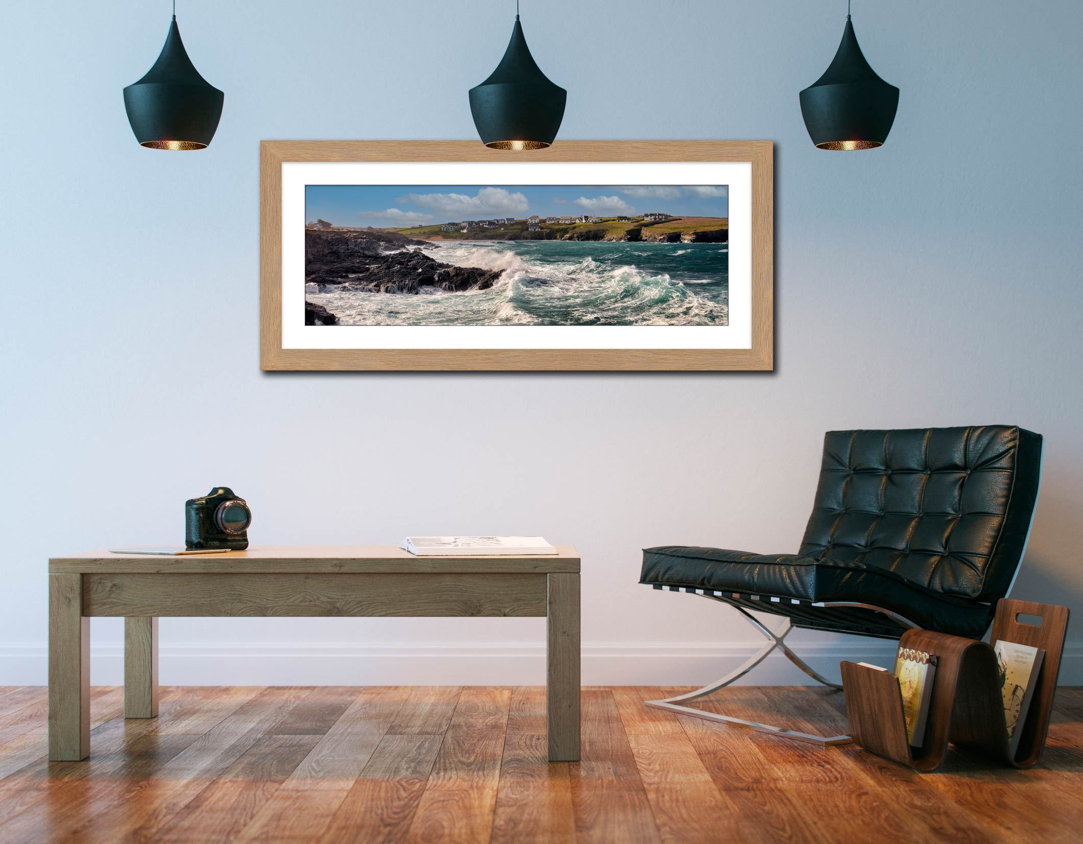 Waves in Treyarnon Bay - Framed Print with Mount on Wall