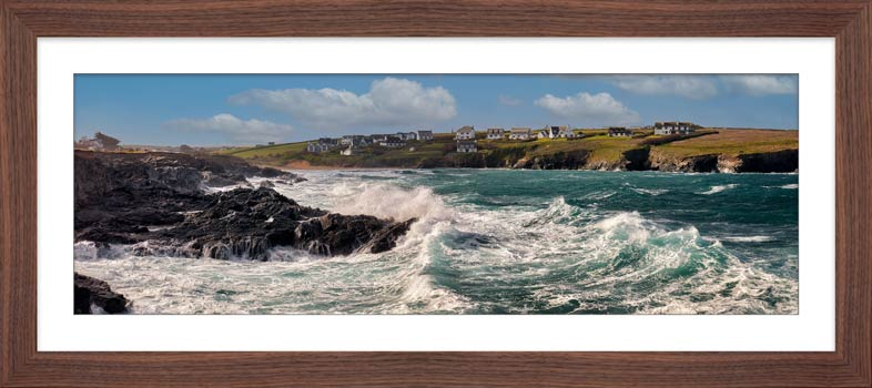 Waves in Treyarnon Bay - Framed Print with Mount
