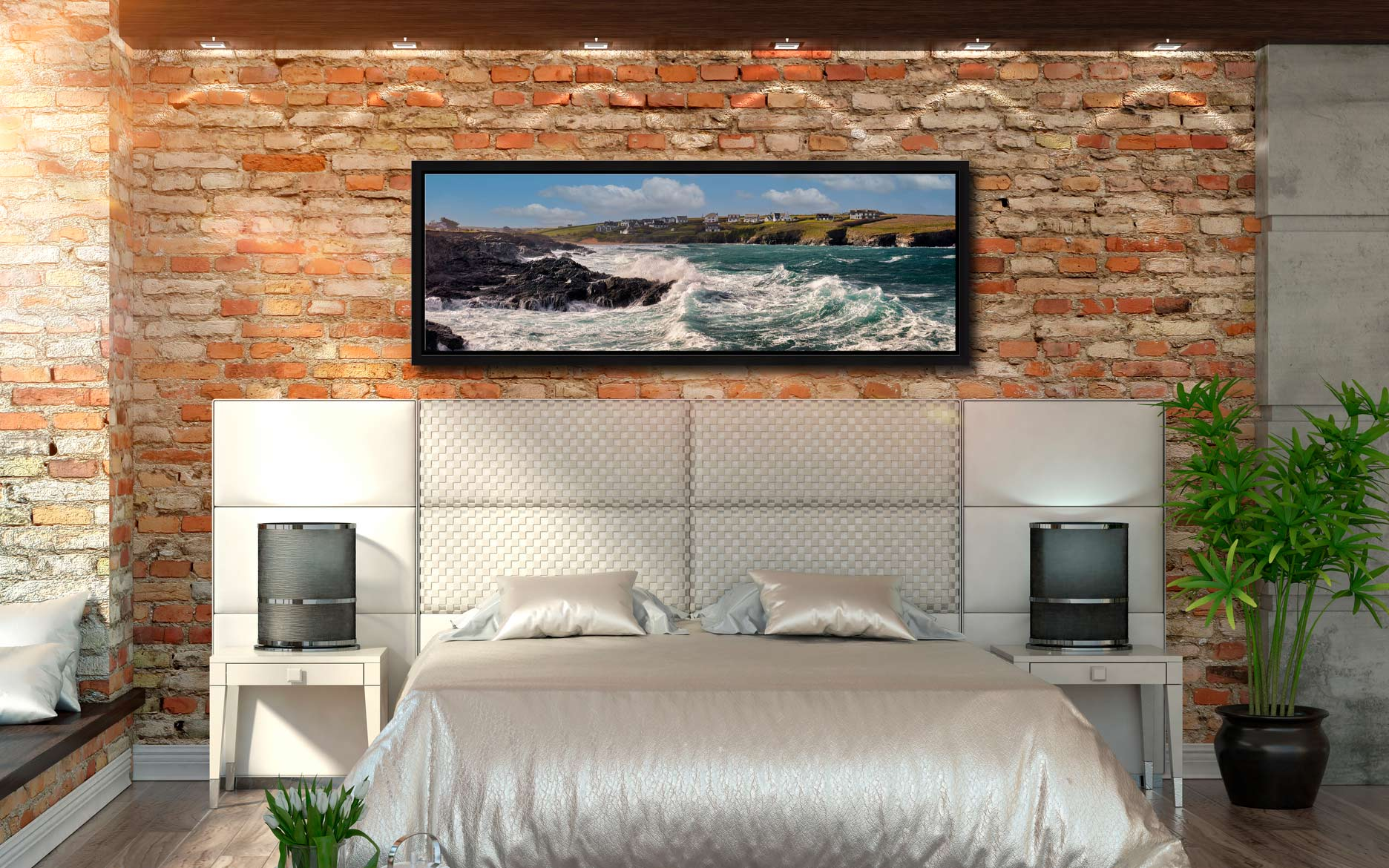 Ocean waves breaking on the cliffs of Treyarnon Bay - Black oak floater frame with acrylic glazing on Wall