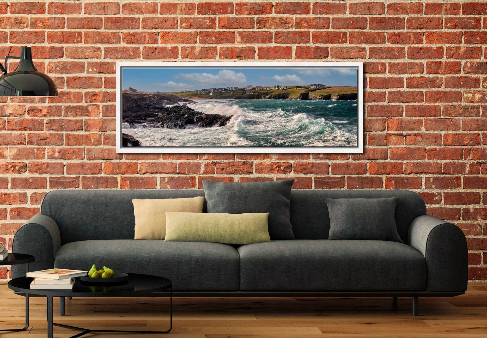 Ocean waves breaking on the cliffs of Treyarnon Bay - White Maple floater frame with acrylic glazing on Wall