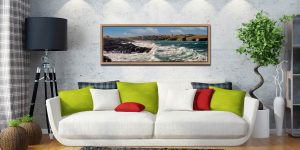 Ocean waves breaking on the cliffs of Treyarnon Bay - Oak floater frame with acrylic glazing on Wall