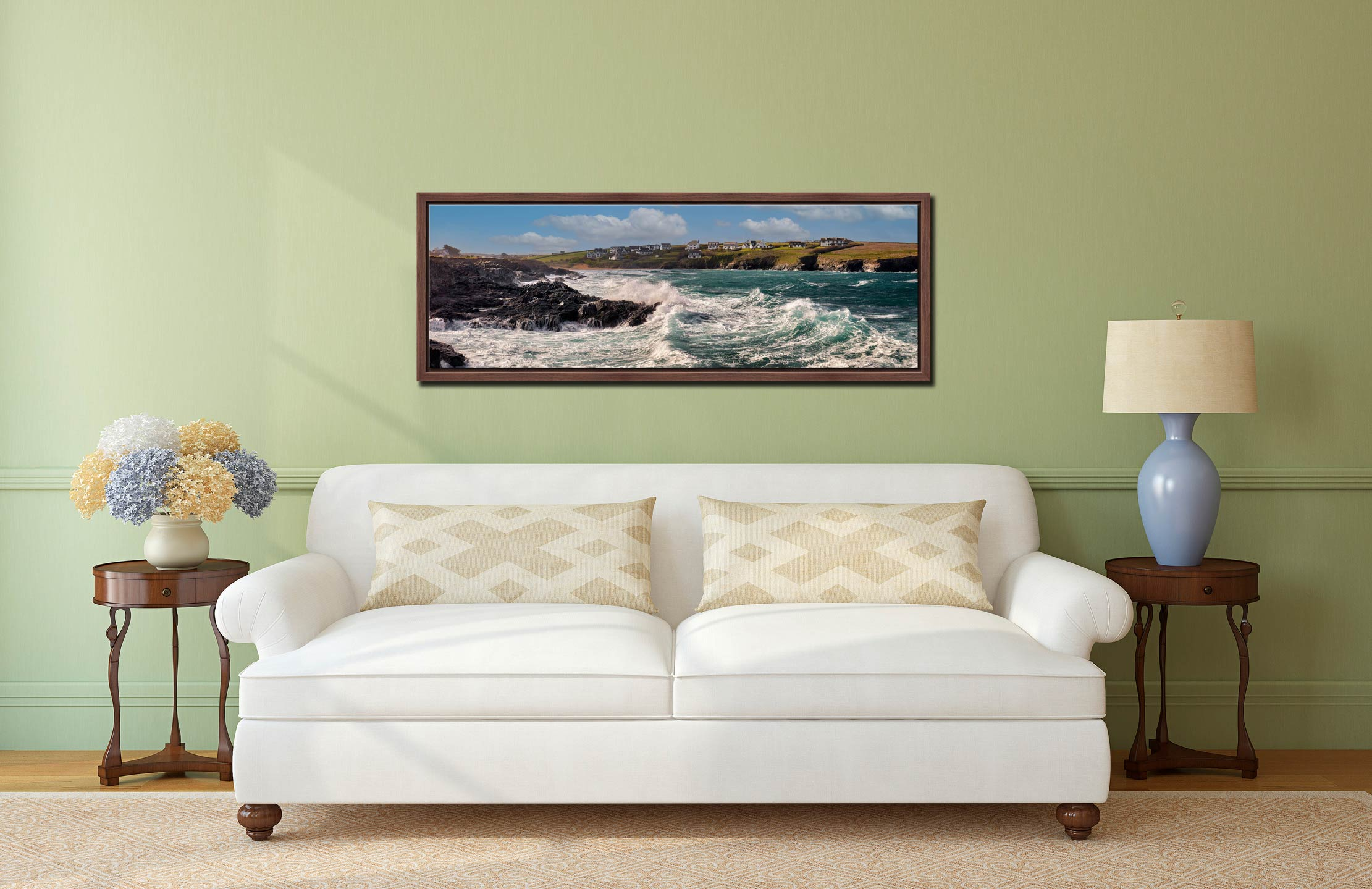 Ocean waves breaking on the cliffs of Treyarnon Bay - Walnut floater frame with acrylic glazing on Wall