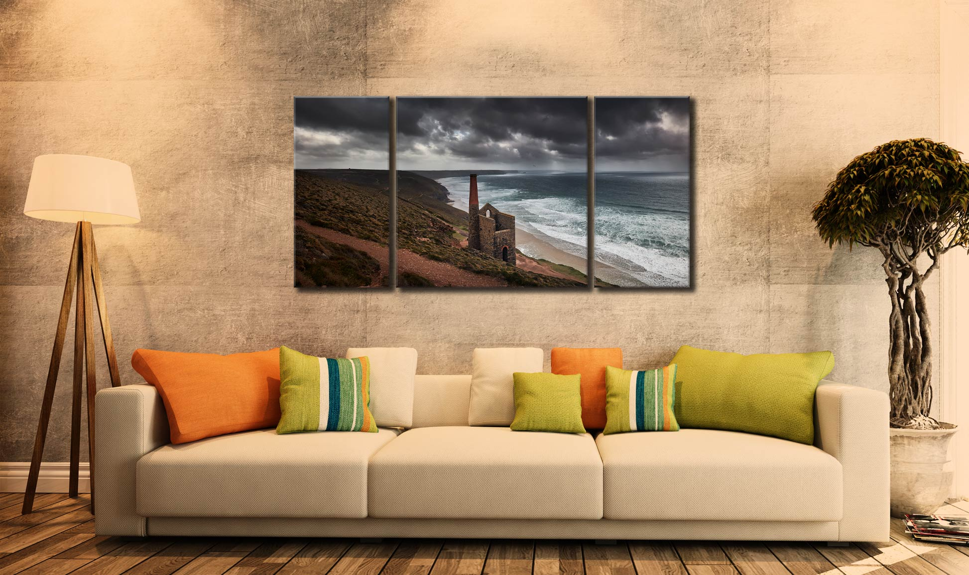 Wheal Coates Mine Ruin - 3 Panel Wide Centre Canvas on Wall