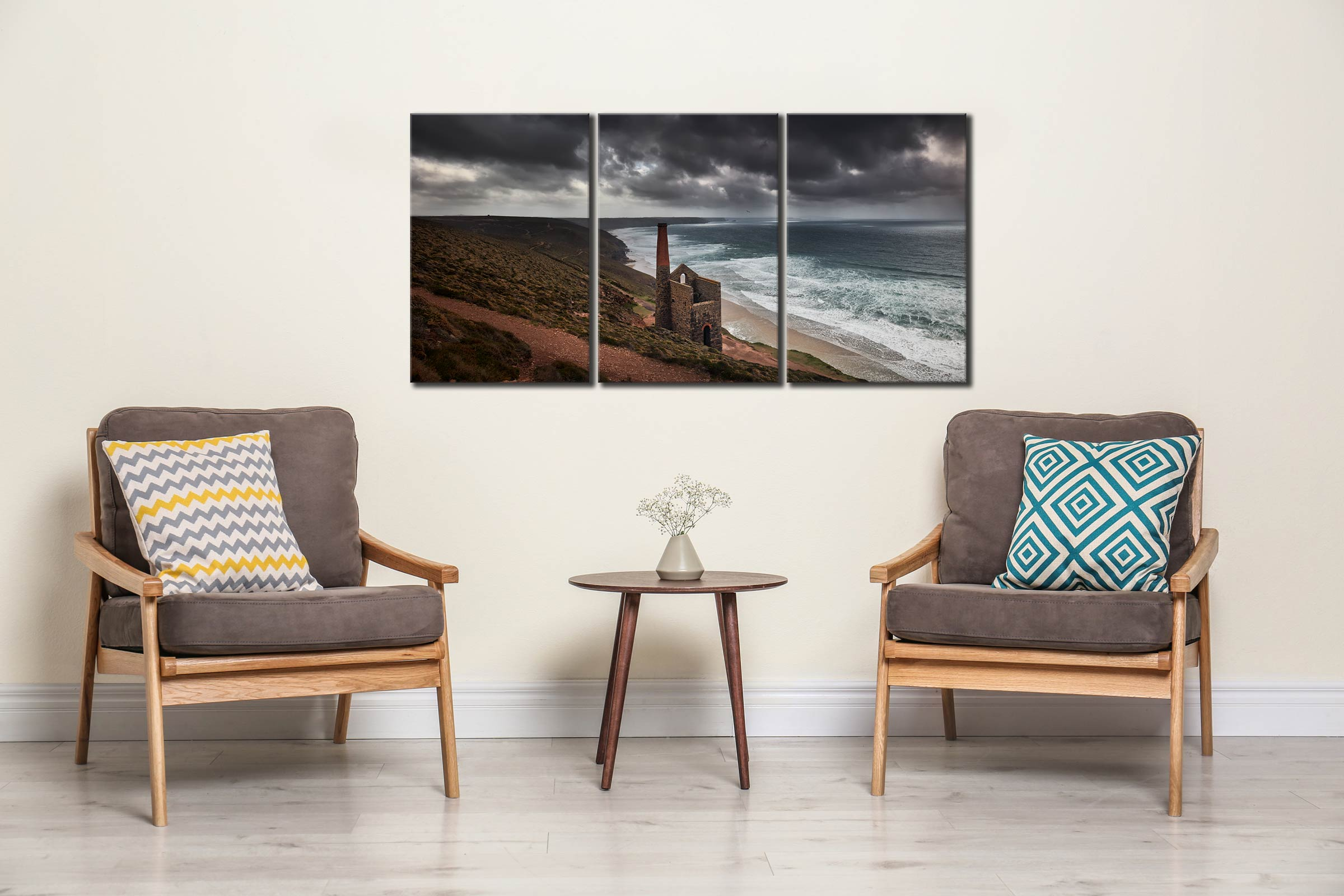 Wheal Coates Mine Ruin - 3 Panel Canvas on Wall