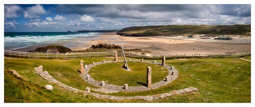 Perranporth Sundial and Beach - Cornwall Print