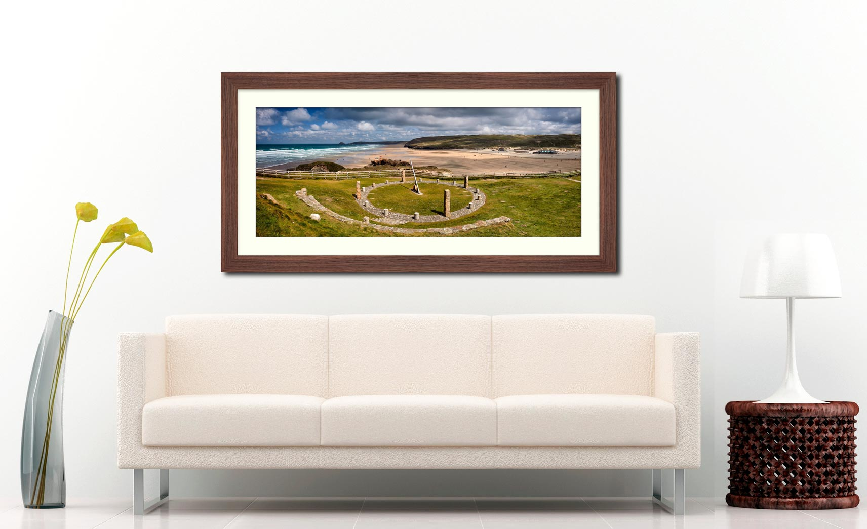 Perranporth Sundial and Beach - Framed Print with Mount on Wall